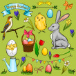 Vector cartoon Easter collection — Stock Vector