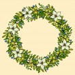 Vector floral wreath frame with white flowers — Stock Vector