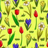 Vector cartoon seamless pattern with spring flowers — Stock Vector