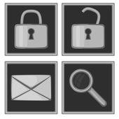 Set of four monochromatic icons — Stock Vector