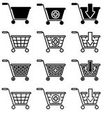 Vector set of sale basket pictogram — Stock Vector