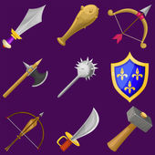 Set of vector cartoon weapon icons — ストックベクタ