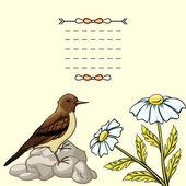 Vintage background with cartoon flowers and bird — Stockvektor