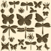 Set of stylized insects for decorating your work — Stock Vector