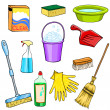 Cleaning supplies cartoon set — Stock Vector #46425251