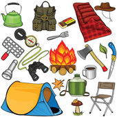 Conjunto de engrenagem acampando em estilo cartoon — Vetor de Stock