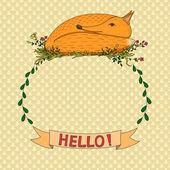 Romantic card with fox frame — ストックベクタ
