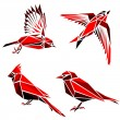 Set of four red triangle formed birds — Stock Vector