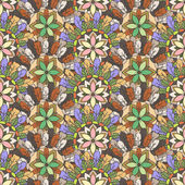 Seamless pattern of feathers leafs and flowers — Stock Vector