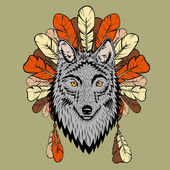 Totem illustration with wolf and feathers — Vettoriale Stock