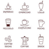 Collection of linear coffee icons with descriptions — Cтоковый вектор
