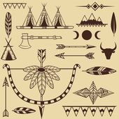 Set of american indian's objects — Stock Vector