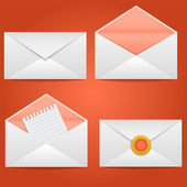 Set of envelopes open, closed, sealed, with a letter — Stock Vector