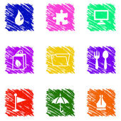 Colorful grungy icons set — Stock Vector