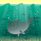 Whale in the sea — Stock Vector