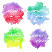 Set of colorful brush splatters — Stock Vector