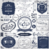 Retro hand drawn elements for wedding invitations — Vector de stock