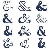Colección de doce símbolos de unión diseños de las señales. ilustración vectorial — Vector de stock