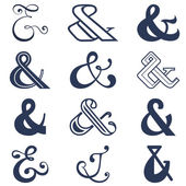 Collection of twelve ampersands sign designs. Vector illustration — Vettoriale Stock