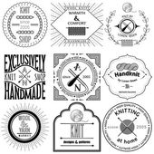 Set of vintage knitting labels, badges and design elements — Stockvector