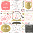Retro hand drawn elements for wedding invitations, greetings, guest information in delicate colors. Vector illustration. — Stock Vector #50281517