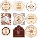Set of vintage knitting labels, badges and design elements. Vector illustration — Stock Vector #50281921