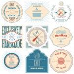 Set of vintage knitting labels, badges and design elements. Vector illustration — Stock Vector #50287447