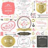 Mano retro elementos para las invitaciones de boda, saludos, información de los invitados en colores delicados dibujado. ilustración vectorial. — Vector de stock