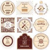 Set of vintage knitting labels, badges and design elements. Vector illustration — Stock Vector