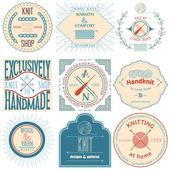 Conjunto de etiquetas de tejer vintage, insignias y elementos de diseño. ilustración vectorial — Vector de stock