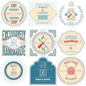 Set of vintage knitting labels, badges and design elements. Vector illustration — Stockvektor