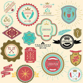 Collection of vintage labels and stamps for design in delicate colors. Vector illustration. — Stok Vektör