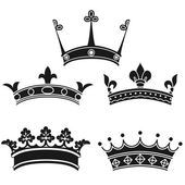 Collection of vintage crowns — Vector de stock