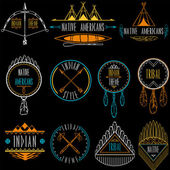 Collection of badges and labels in indian tribal style. Vector illustration. — Wektor stockowy