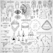 Collection of tribal doodle design elements. — Stock Vector #51409733