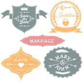 Set of vintage wedding labels for invitations. Vector illustration. — Stock Vector