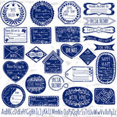 Set of handmade grungy stamps for mail, postage, delivery, address with handdrawn font. Vector illustration. — Stok Vektör