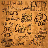Collection of Halloween hand typography designs — Stock Vector