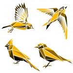Set of four triangle birds symbols — Stock Vector #51413593