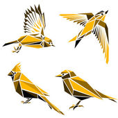 Set of four triangle birds  symbols — Stock Vector