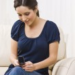 Woman with Cellphone Text Messaging — Stock Photo