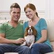 Couple Holding Dog — Stock Photo