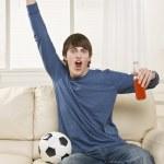Man Cheering at Game — Stock Photo