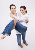 Attractive Man Holding Beautiful Woman — Stock Photo