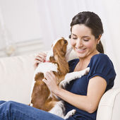 Dog Kissing Woman — Stock Photo