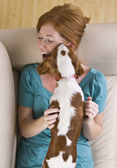 Dog Licking Woman — Stock Photo