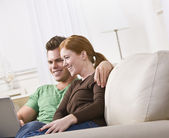 Couple Viewing Laptop — Stock Photo