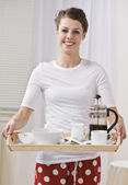 Attractive Brunette Female With Coffee on a Tray — Stock Photo