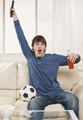 Man Cheering at Game — Stock Photo