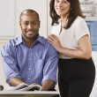 Man and Woman in Office — Stock Photo